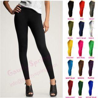 NEW LADIES BASIC ULTRA STRETCH PANTS TIGHTS BLACK FULL LENGTH LEGGINGS