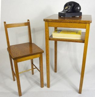 ANTIQUE SOLID QUARTERSAWN OAK GOSSIP TELEPHONE CHAIR TABLE MISSION