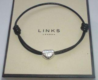 OF LONDON Silver Heart Union Jack Black Friendship Bracelet (WL44