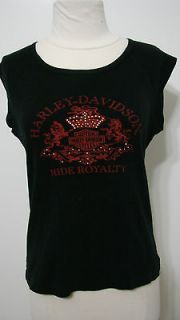 Harley Davidson Vintage Black Embellished Muscle/Cap Sleeve Ride