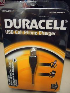 DURACELL USB CELL PHONE CHARGER nokia MOTOROLA htc samsung BLACKBERRY