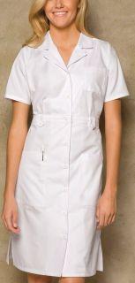 Medical Uniform Button Front WHITE Nurses Uniform Dress 38 XS 3XL