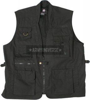 Black Multi Pocket Cargo Tactical Concealed Carry Travel Vest