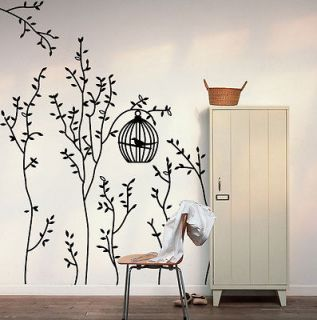 SUPER Bird Cage&Trees Removable Wall Decals Vinyl Black Gray Home