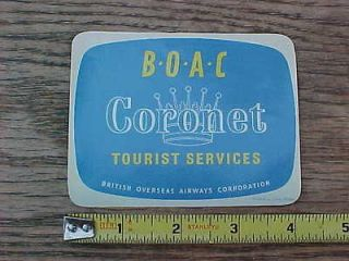 BOAC Coronet Tourist Services Luggage Sticker Decal British Overseas