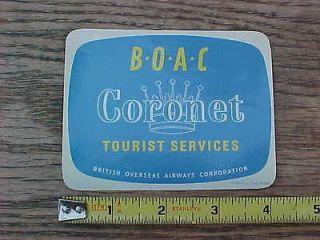 BOAC Coronet Tourist Services Luggage Sticker Decal British Overseas