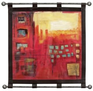 Large Contemporary Abstract Art Wall Hanging, Modern Leather Decor