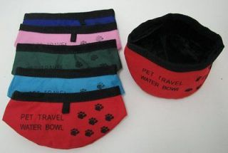 Lot (6) PORTABLE PET TRAVEL BOWLS Paw Print Water Food Dog Cat NWT