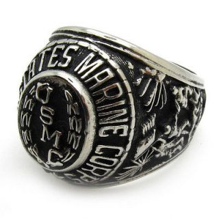 Men gothic warrior hero badge marine corps USMC ring stainless steel