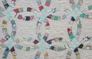 Hand Stitched Antique Double Wedding Ring Patchwork Quilt Primitive