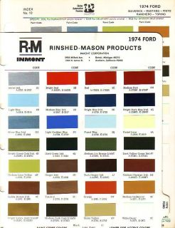 1974 FORD MUSTANG MAVERICK TORINO PINTO PAINT CHIPS (PPG R M)