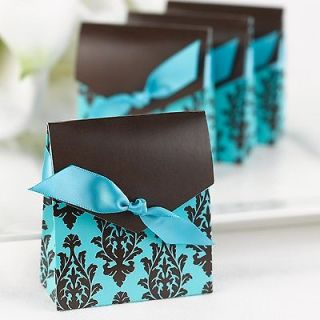 Turquoise Aqua & Brown Damask Tent Wedding Favor Boxes Kit with Ribbon