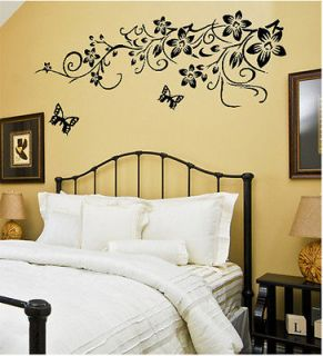 black flower wall decals in Decals, Stickers & Vinyl Art