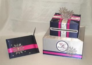 Elegant Custom Made Wedding Card Box Guest Book/Pen set WINTER theme