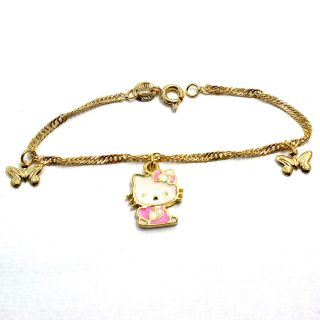 Gold 18k GF Girl Infants White Pink Butterfly Hello Kitty Charm