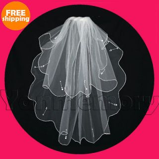Wedding Bridal Scallop Sequin Veil Fingertip Length Bridal Accessories