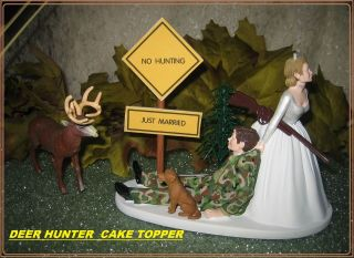 REDNECK WEDDING CAMO DEER GUN HUNTER HUNTING DOG CAKE TOPPER