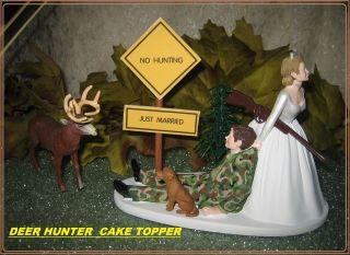 REDNECK WEDDING CAMO DEER GUN HUNTER HUNTING DOG CAKE TOPPER