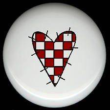 WHITE and RED CHECKED Primitive Stitched HEART ~ Ceramic Drawer Knobs