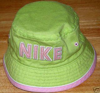 Girl Infant Baby NIKE Bucket Hat Lime Green Cap Beach Sun Summer WOW