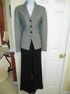 York Gorgeous Black Harris Tweed Wool Pant Suit, SZ 4 VGC Work, Church