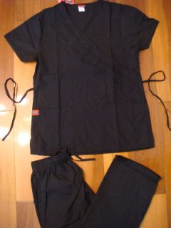 Top Cargo Pant Medical Uniform Nursing Scrubs Set Black XS   2XL