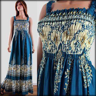 Womens Floral Paisley Print Smock Beach Long Sun Maxi Dress Plus 1Size
