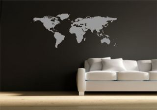World Map Atlas Wall Sticker Quote Decal Transfer Mural Stencil Art