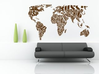 World Map Wall Stickers Vinyl Art Decals wall quotes