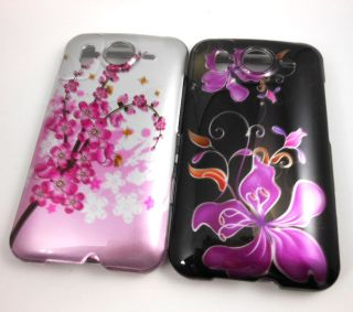 HTC INSPIRE 4G AT&T CASE COVER PINK PURPLE HAWAIIAN FLOWERS BLACK (SET