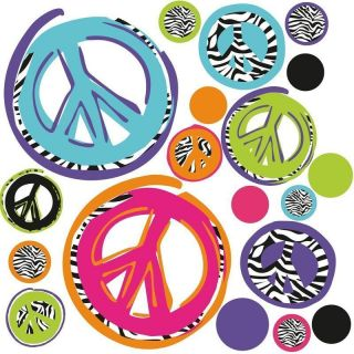 ZEBRA print PEACE SIGNS wall stickers 26 funky mod decals teens room