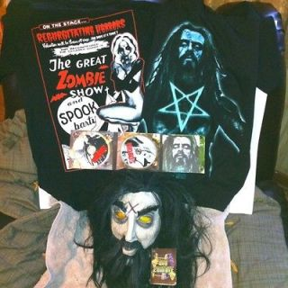 Rob Zombie Mask Large Shirts CD DVD Halloween Costume Horror Rock Goth