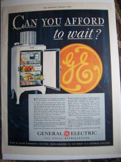 1932 Vintage GE General Electric All Steel Junior Refrigerator Monitor