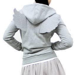 New Womens Angel Wings Zip Up Hoodie Winged Jacket Grey XS S Halloween