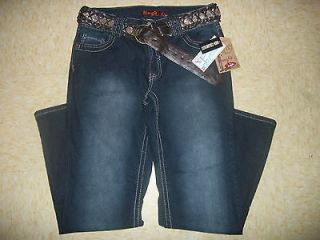 NWT WOMENS PLUS ANGELS Hissyfit BOOTCUT JEANS Sequin BELT DARKWASH 18