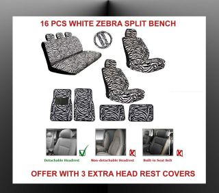 WHITE ZEBRA CAR SEAT COVERS WITH CAR MAT 16PC FOR SPLIT BENCH AIRBAGS