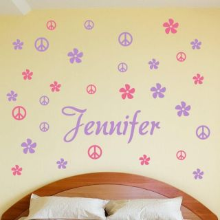 PERSONALIZED BOY GIRL CHILD NAME FLOWERS PEACE Vinyl Wall Decal Decor