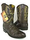 MENS BROWN LEATHER CROCODILE ALLIGATOR TAIL ROPER COWBOY BOOTS