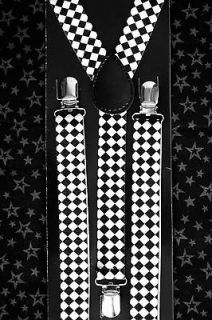 Youth Suspenders Braces Ska Punk Kids Children Boys Black/White Checks