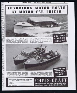 1938 Chris Craft Cruiser Runabout Boat Print Ad