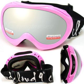 Polycarbonate Lens Mirror Pink Kids Youth Girls Goggles Ski Snowboard