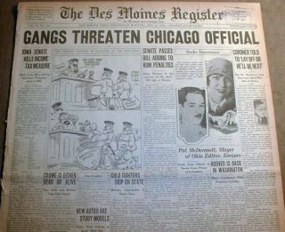 BIG Headline ST VALENTINES DAY MASSACRE Al Capone Gang CHICAGO