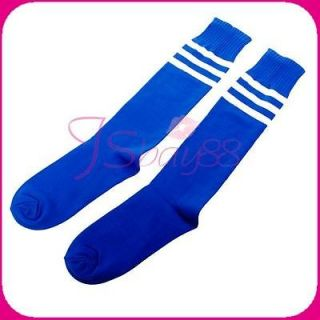 Stripe on Blue Tube Socks for Soccer Football Basketball Training