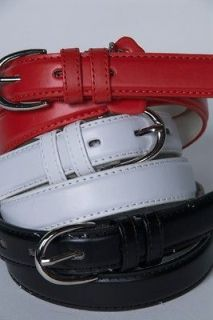 Set of 3 Black/White/Red Ladies Classic Leather Belt Size Large #188