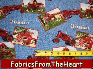Farmall Tractors Farm Postcards on Blue Cotton Fabric