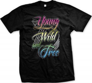 Young Wild and Free Mens T Shirt Tee Wiz Khalifa Hip Hop Music Lyrics