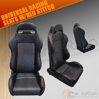 FITACCORD SIENNA CARBON FIBER LOOK RACING SEATS PVC LEATHER W/RED