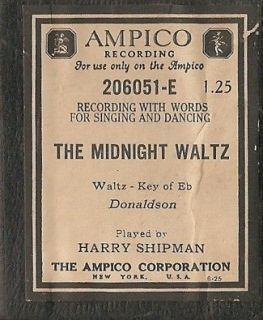 Ampico Piano Roll   The Midnight Waltz
