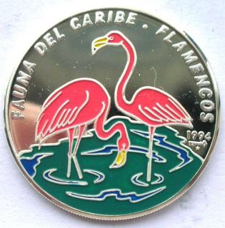 Cuba 1994 Fauna 10 Pesos Colour Silver Coin,Proof
