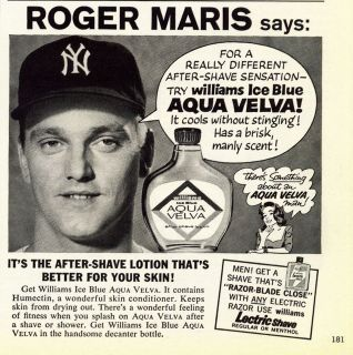 1962 Aqua Velva After Shave Lotion ad ~ Roger Maris ~ N.Y. Yankee